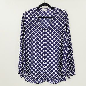 Pleione High/Low V-Neck Blouse Navy-Ivory Swirl